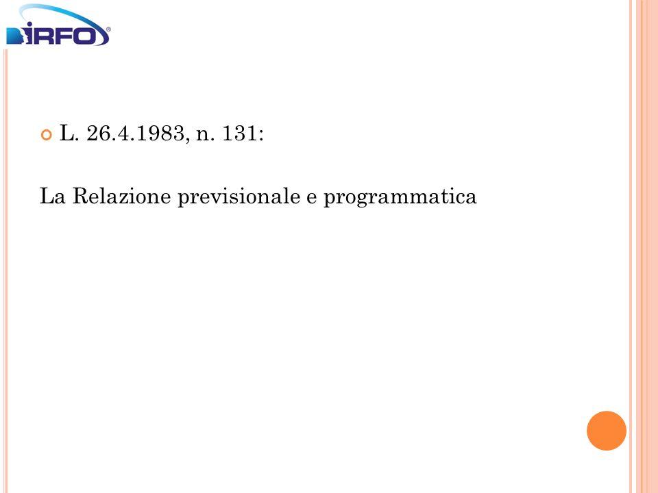 L. 26.4.1983, n. 131: La Relazione previsionale e programmatica