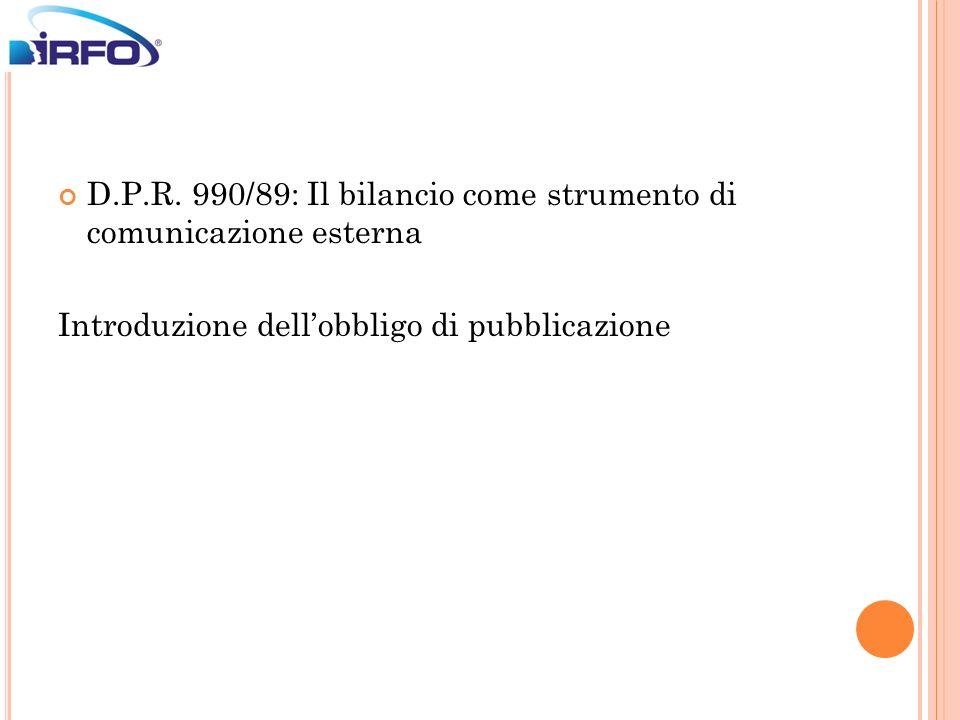 D.P.R. 990/89: Il bilancio come strumento di comunicazione esterna Introduzione dellobbligo di pubblicazione