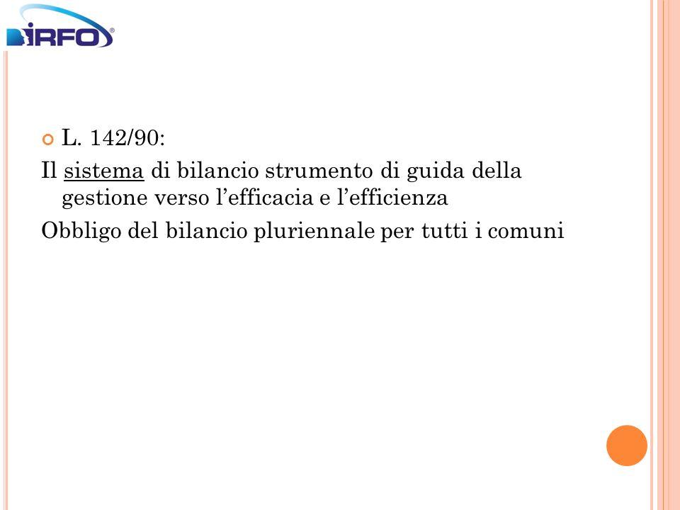 L. 142/90: Il sistema di bilancio strumento di guida della gestione verso lefficacia e lefficienza Obbligo del bilancio pluriennale per tutti i comuni