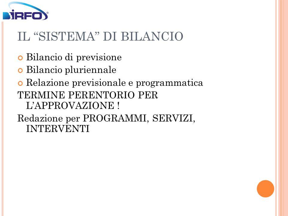 IL SISTEMA DI BILANCIO Bilancio di previsione Bilancio pluriennale Relazione previsionale e programmatica TERMINE PERENTORIO PER LAPPROVAZIONE ! Redaz