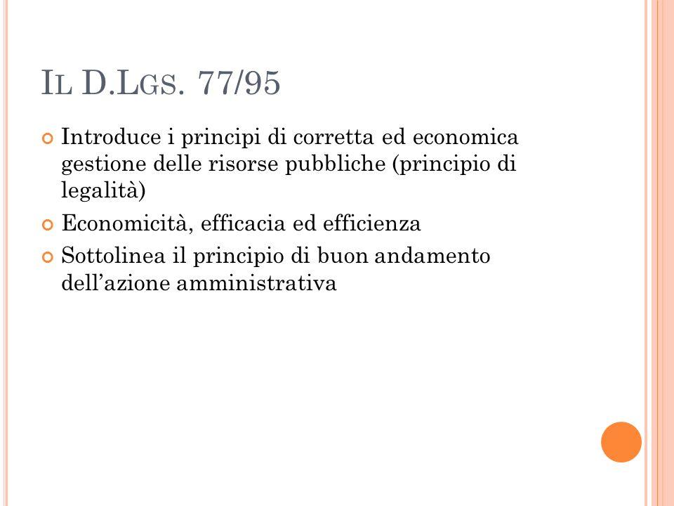 I L D.L GS. 77/95 Introduce i principi di corretta ed economica gestione delle risorse pubbliche (principio di legalità) Economicità, efficacia ed eff