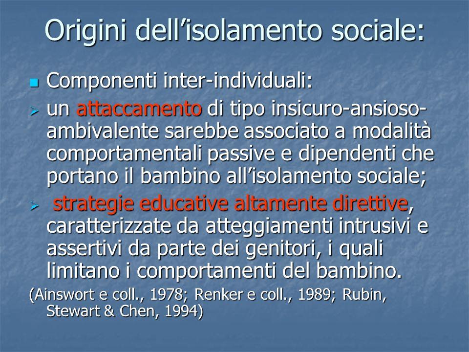 Origini dellisolamento sociale: Componenti inter-individuali: Componenti inter-individuali: un attaccamento di tipo insicuro-ansioso- ambivalente sare