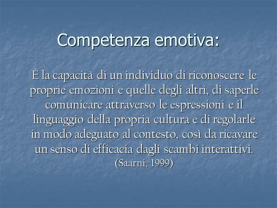 Competenza emotiva: È la capacità di un individuo di riconoscere le proprie emozioni e quelle degli altri, di saperle comunicare attraverso le espress