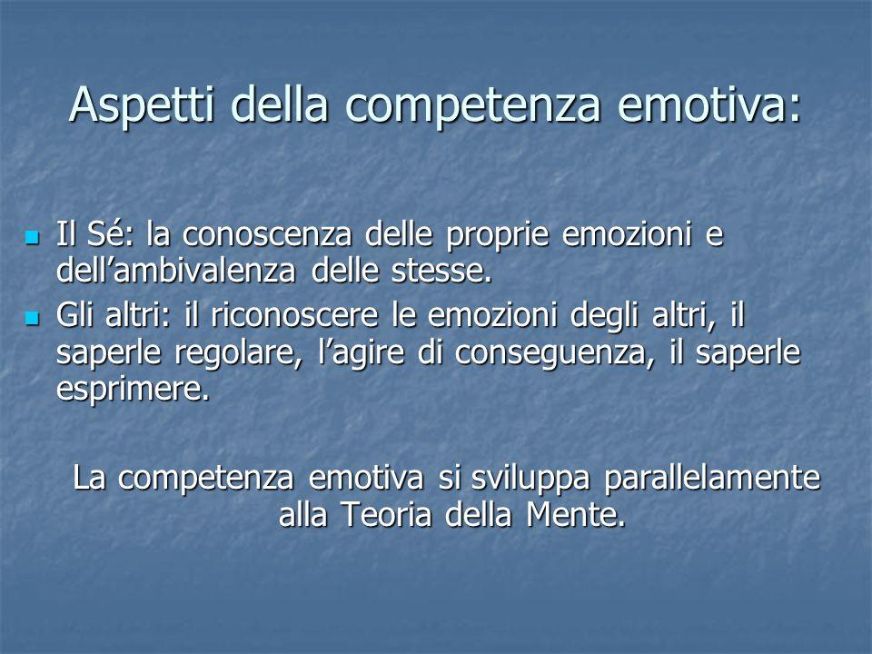 Aspetti della competenza emotiva: Il Sé: la conoscenza delle proprie emozioni e dellambivalenza delle stesse. Il Sé: la conoscenza delle proprie emozi