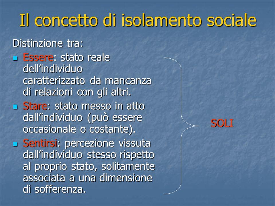 Il concetto di isolamento sociale Distinzione tra: Essere: stato reale dellindividuo caratterizzato da mancanza di relazioni con gli altri. Essere: st
