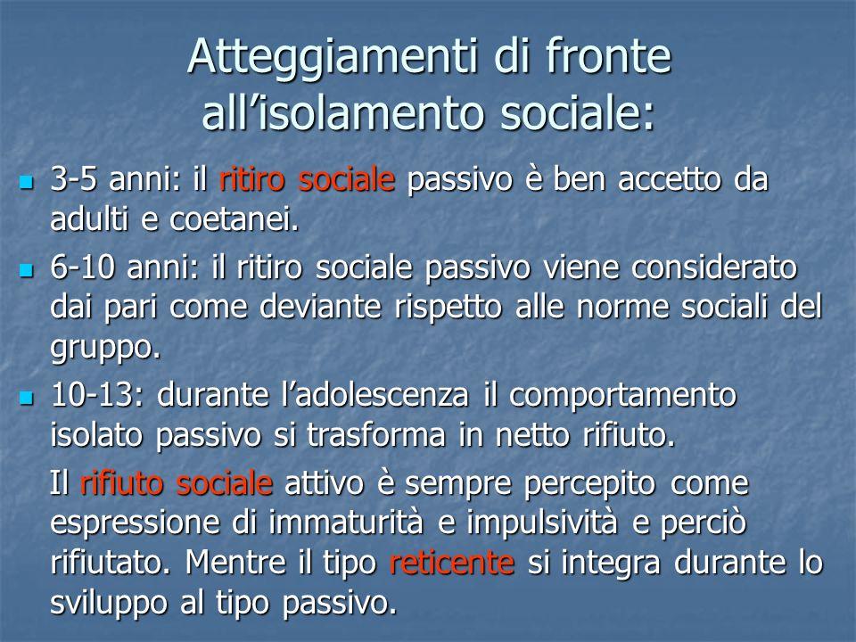 Atteggiamenti di fronte allisolamento sociale: 3-5 anni: il ritiro sociale passivo è ben accetto da adulti e coetanei. 3-5 anni: il ritiro sociale pas