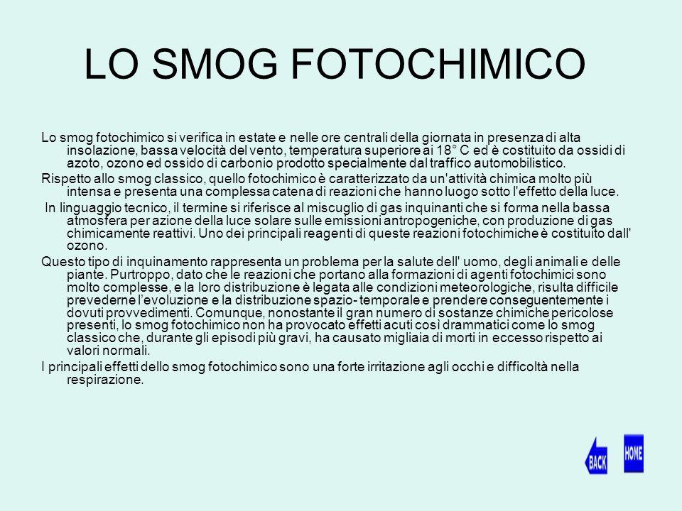 LO SMOG FOTOCHIMICO Lo smog fotochimico si verifica in estate e nelle ore centrali della giornata in presenza di alta insolazione, bassa velocità del vento, temperatura superiore ai 18° C ed è costituito da ossidi di azoto, ozono ed ossido di carbonio prodotto specialmente dal traffico automobilistico.
