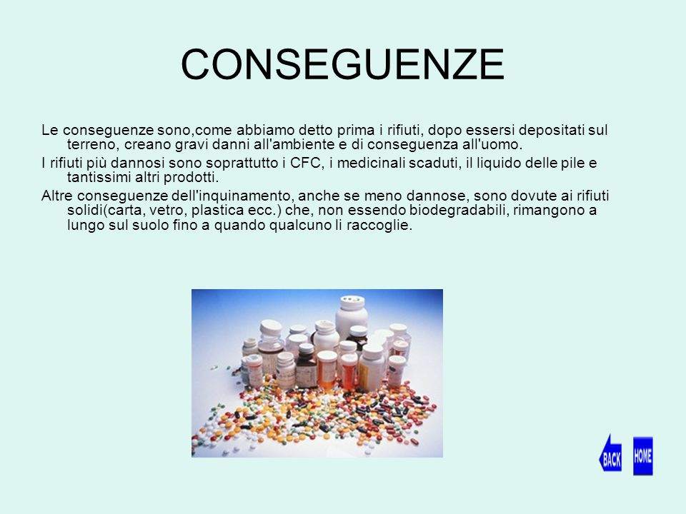CONSEGUENZE Le conseguenze sono,come abbiamo detto prima i rifiuti, dopo essersi depositati sul terreno, creano gravi danni all ambiente e di conseguenza all uomo.