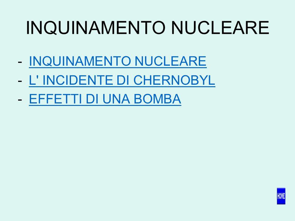 INQUINAMENTO NUCLEARE -INQUINAMENTO NUCLEAREINQUINAMENTO NUCLEARE -L INCIDENTE DI CHERNOBYLL INCIDENTE DI CHERNOBYL -EFFETTI DI UNA BOMBAEFFETTI DI UNA BOMBA