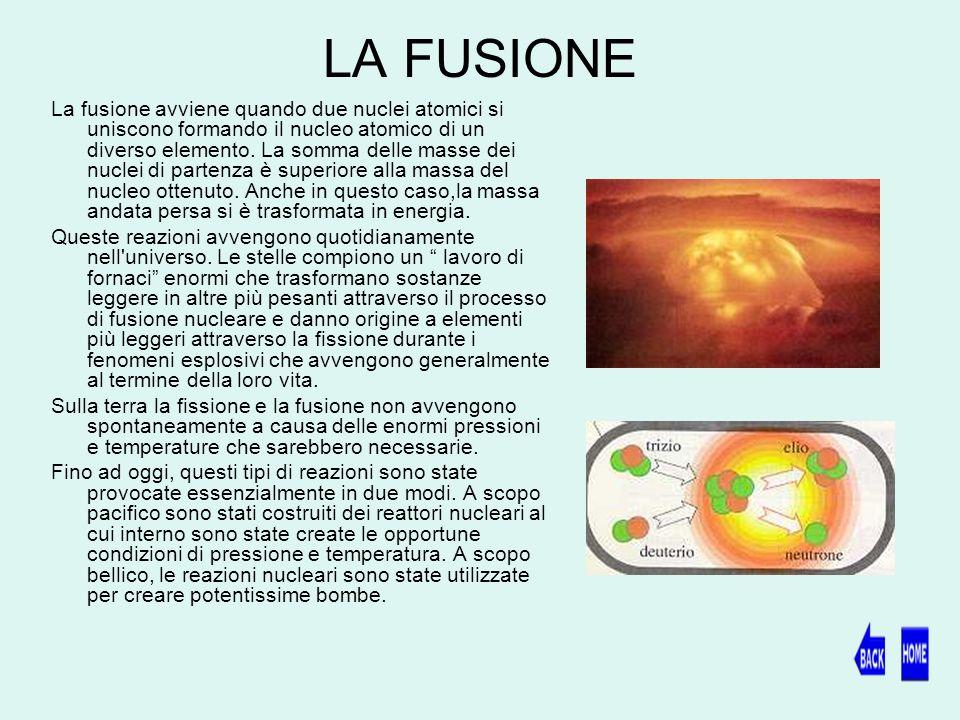 LA FUSIONE La fusione avviene quando due nuclei atomici si uniscono formando il nucleo atomico di un diverso elemento.