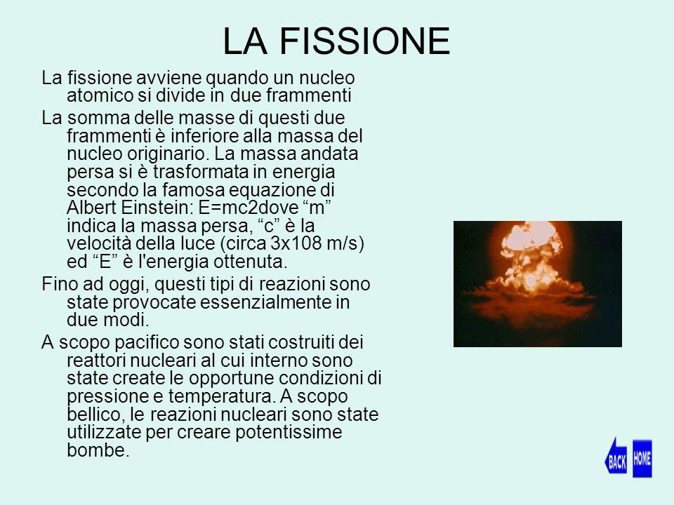 LA FISSIONE La fissione avviene quando un nucleo atomico si divide in due frammenti La somma delle masse di questi due frammenti è inferiore alla massa del nucleo originario.