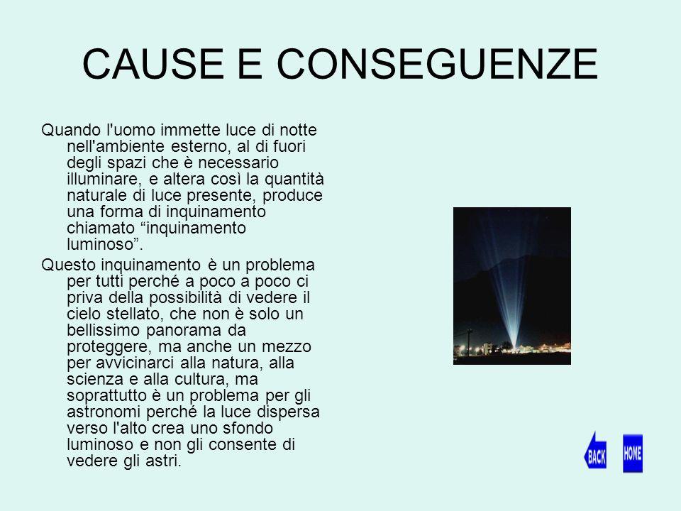 CAUSE E CONSEGUENZE Quando l uomo immette luce di notte nell ambiente esterno, al di fuori degli spazi che è necessario illuminare, e altera così la quantità naturale di luce presente, produce una forma di inquinamento chiamato inquinamento luminoso.