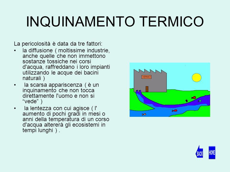 INQUINAMENTO TERMICO La pericolosità è data da tre fattori: la diffusione ( moltissime industrie, anche quelle che non immettono sostanze tossiche nei corsi d acqua, raffreddano i loro impianti utilizzando le acque dei bacini naturali ) la scarsa appariscenza ( è un inquinamento che non tocca direttamente l uomo e non si vede ) la lentezza con cui agisce ( l aumento di pochi gradi in mesi o anni della temperatura di un corso d acqua altererà gli ecosistemi in tempi lunghi ).