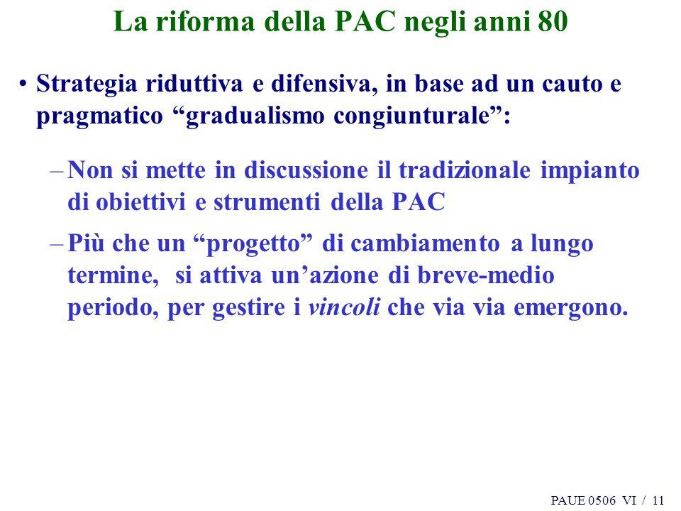 PAUE 0506 VI / 11 La riforma della PAC negli anni 80 Strategia riduttiva e difensiva, in base ad un cauto e pragmatico gradualismo congiunturale: –Non
