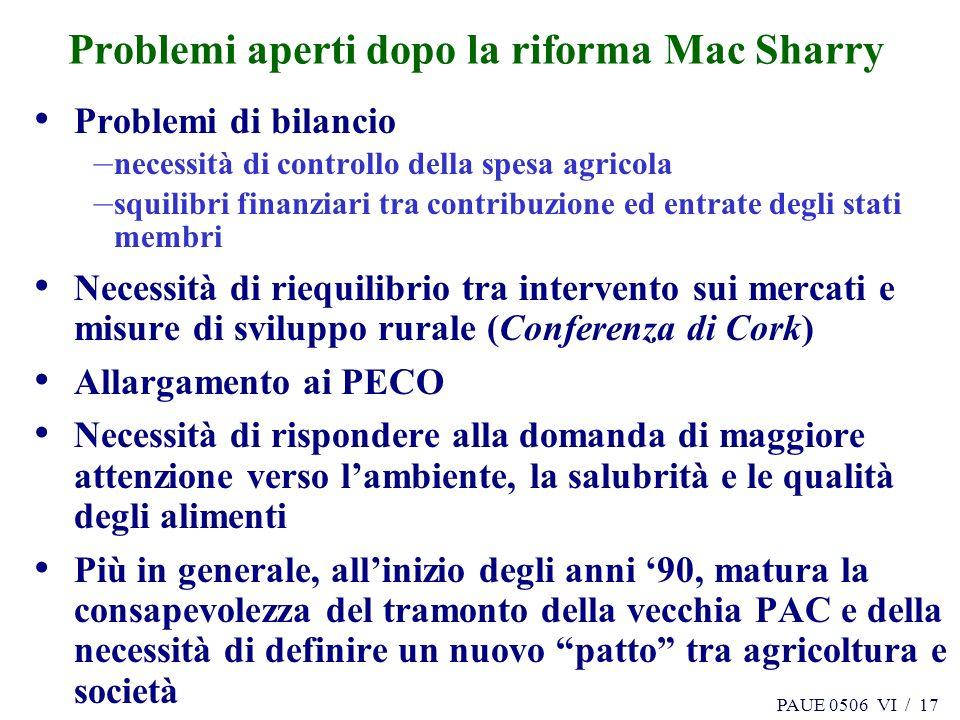 PAUE 0506 VI / 17 Problemi aperti dopo la riforma Mac Sharry Problemi di bilancio – necessità di controllo della spesa agricola – squilibri finanziari
