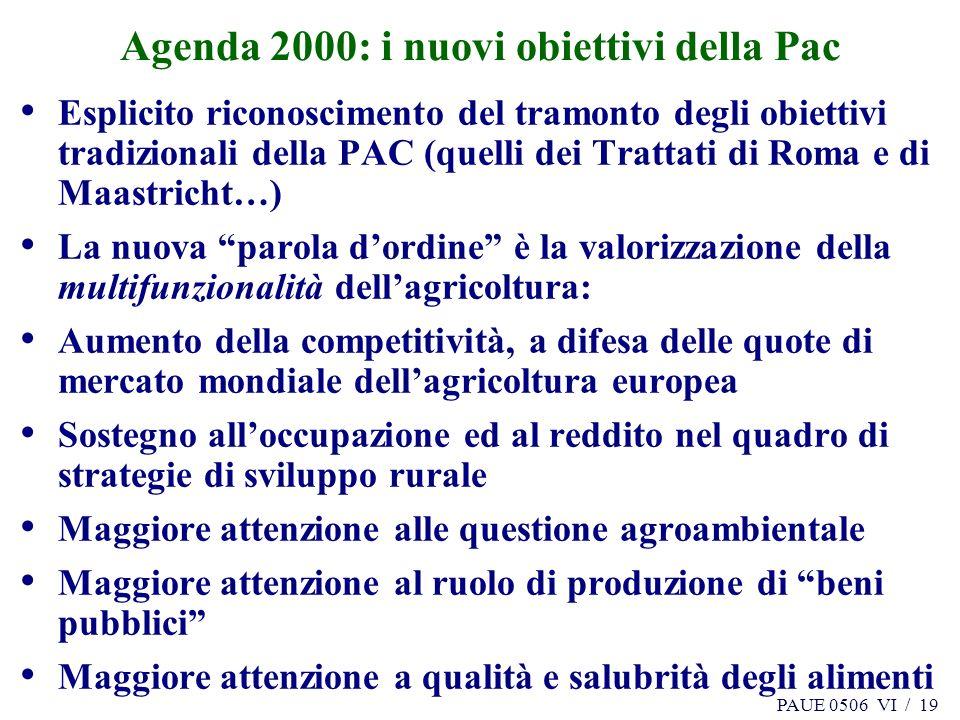 PAUE 0506 VI / 19 Agenda 2000: i nuovi obiettivi della Pac Esplicito riconoscimento del tramonto degli obiettivi tradizionali della PAC (quelli dei Tr