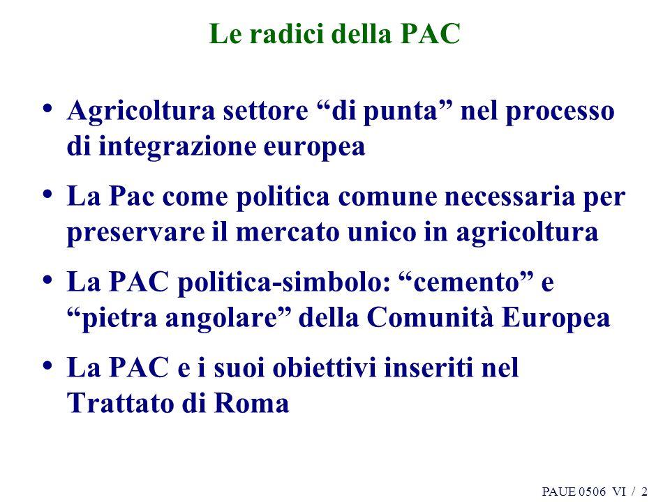 PAUE 0506 VI / 2 Le radici della PAC Agricoltura settore di punta nel processo di integrazione europea La Pac come politica comune necessaria per pres