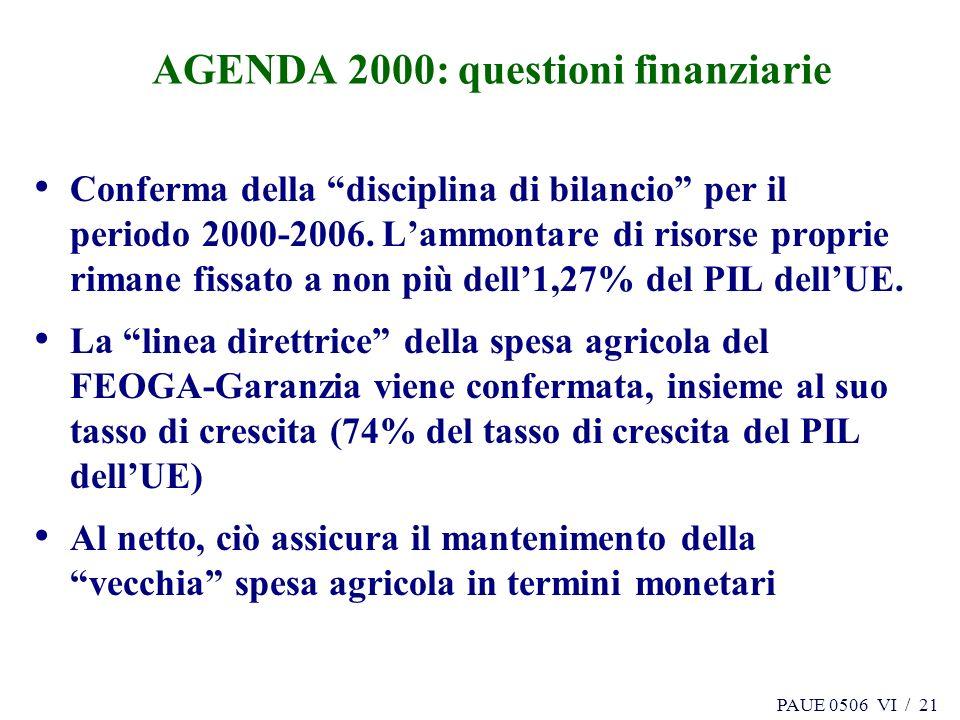 PAUE 0506 VI / 21 AGENDA 2000: questioni finanziarie Conferma della disciplina di bilancio per il periodo 2000-2006. Lammontare di risorse proprie rim