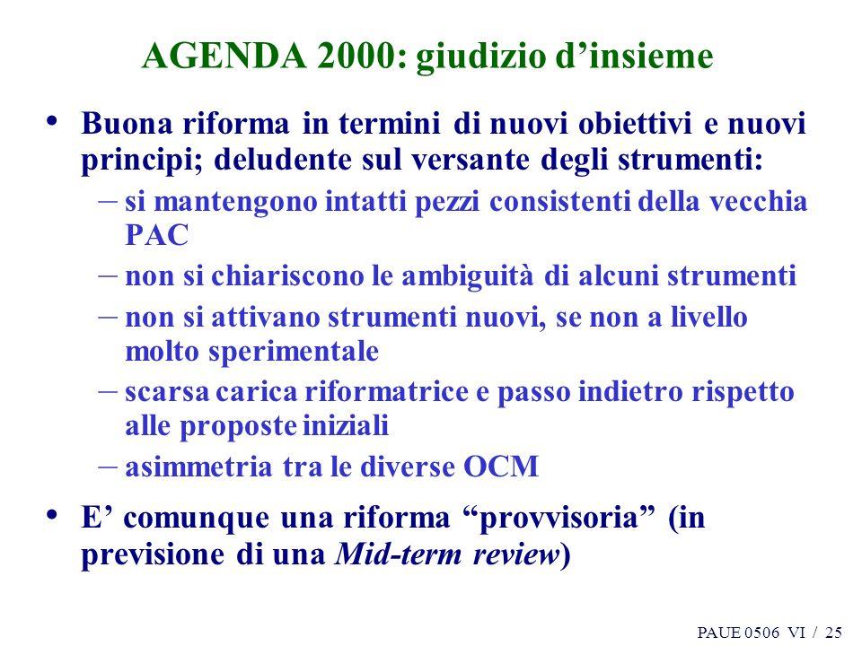 PAUE 0506 VI / 25 AGENDA 2000: giudizio dinsieme Buona riforma in termini di nuovi obiettivi e nuovi principi; deludente sul versante degli strumenti: