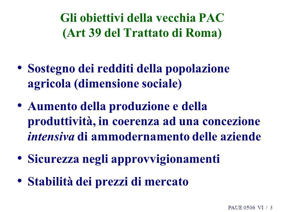 PAUE 0506 VI / 3 Gli obiettivi della vecchia PAC (Art 39 del Trattato di Roma) Sostegno dei redditi della popolazione agricola (dimensione sociale) Aumento della produzione e della produttività, in coerenza ad una concezione intensiva di ammodernamento delle aziende Sicurezza negli approvvigionamenti Stabilità dei prezzi di mercato