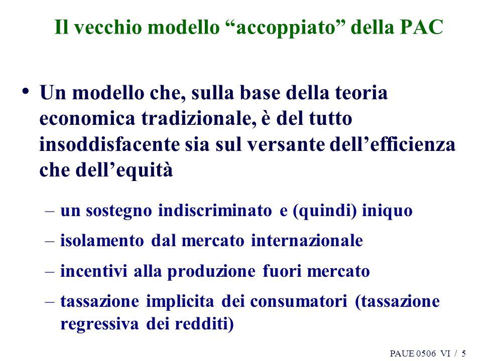 PAUE 0506 VI / 5 Il vecchio modello accoppiato della PAC Un modello che, sulla base della teoria economica tradizionale, è del tutto insoddisfacente sia sul versante dellefficienza che dellequità –un sostegno indiscriminato e (quindi) iniquo –isolamento dal mercato internazionale –incentivi alla produzione fuori mercato –tassazione implicita dei consumatori (tassazione regressiva dei redditi)