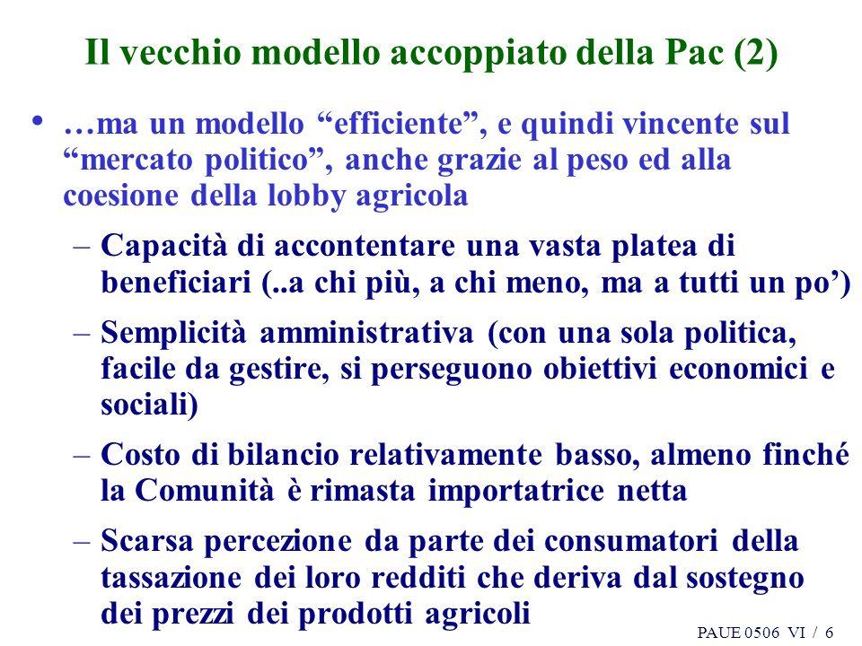 PAUE 0506 VI / 6 Il vecchio modello accoppiato della Pac (2) …ma un modello efficiente, e quindi vincente sul mercato politico, anche grazie al peso e