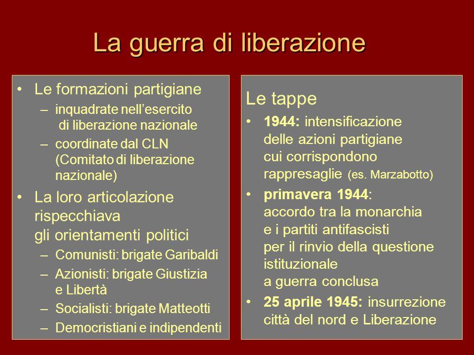 La guerra di liberazione Le formazioni partigiane –inquadrate nellesercito di liberazione nazionale –coordinate dal CLN (Comitato di liberazione nazio