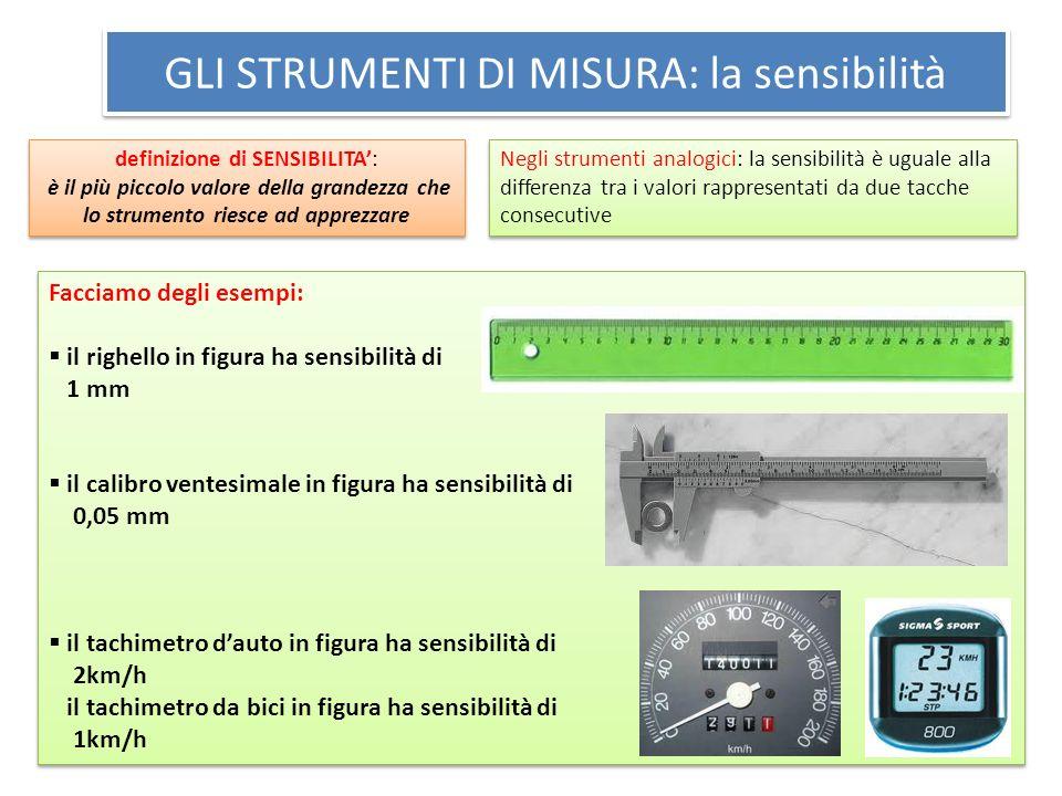 GLI STRUMENTI DI MISURA: la prontezza definizione di PRONTEZZA: indica la rapidità con cui esso risponde ad una variazione della quantità da misurare definizione di PRONTEZZA: indica la rapidità con cui esso risponde ad una variazione della quantità da misurare Facciamo degli esempi: La bilancia pesa persone è uno strumento molto pronto: risponde subito ad una variazione della massa da misurare il termometro a mercurio è uno strumento con una prontezza bassa: per misurare la temperatura corporea occorrono alcuni minuti Facciamo degli esempi: La bilancia pesa persone è uno strumento molto pronto: risponde subito ad una variazione della massa da misurare il termometro a mercurio è uno strumento con una prontezza bassa: per misurare la temperatura corporea occorrono alcuni minuti