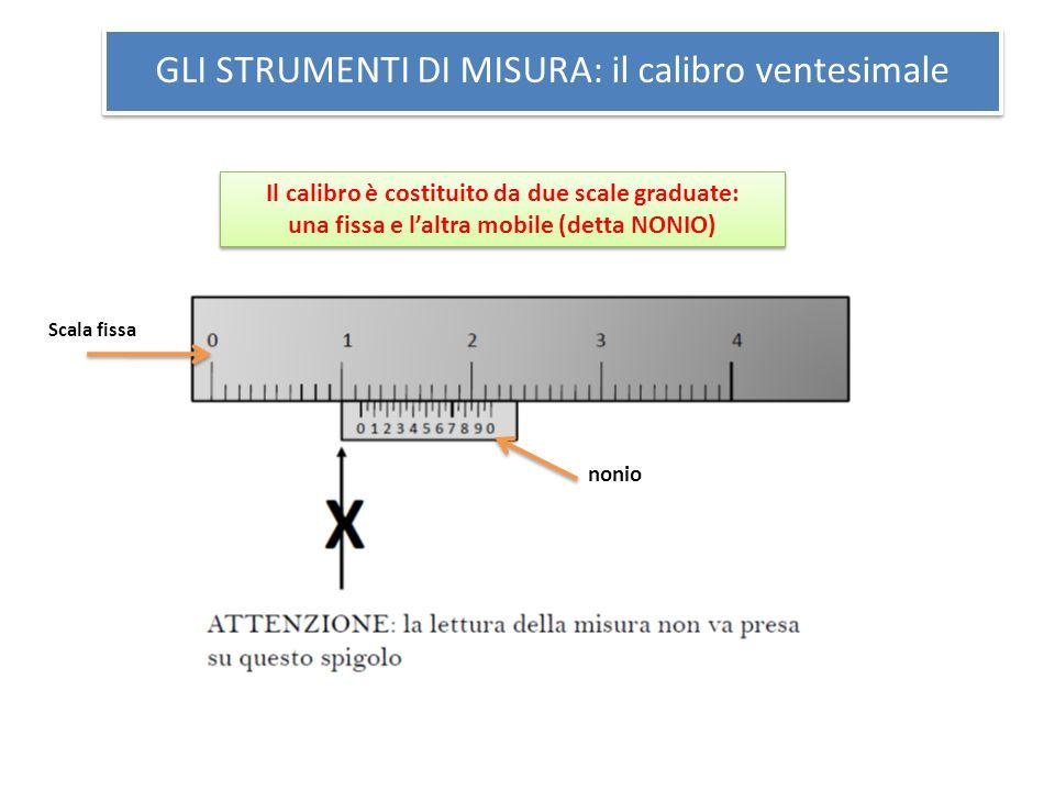 GLI STRUMENTI DI MISURA: il calibro ventesimale Il calibro è costituito da due scale graduate: una fissa e laltra mobile (detta NONIO) Il calibro è co