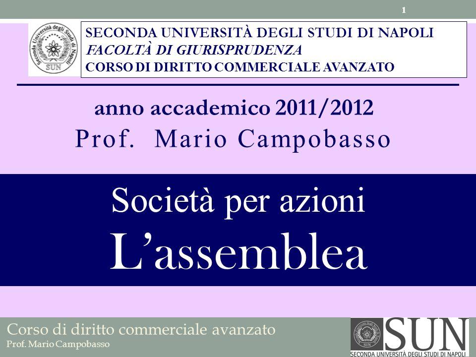 Corso di diritto commerciale avanzato Prof.Mario Campobasso Intervento in assemblea (d.lgs.