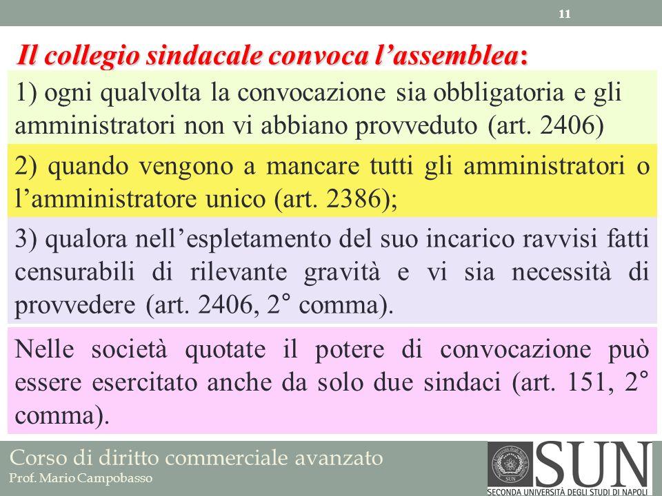Corso di diritto commerciale avanzato Prof. Mario Campobasso Il collegio sindacale convoca lassemblea: 1) ogni qualvolta la convocazione sia obbligato