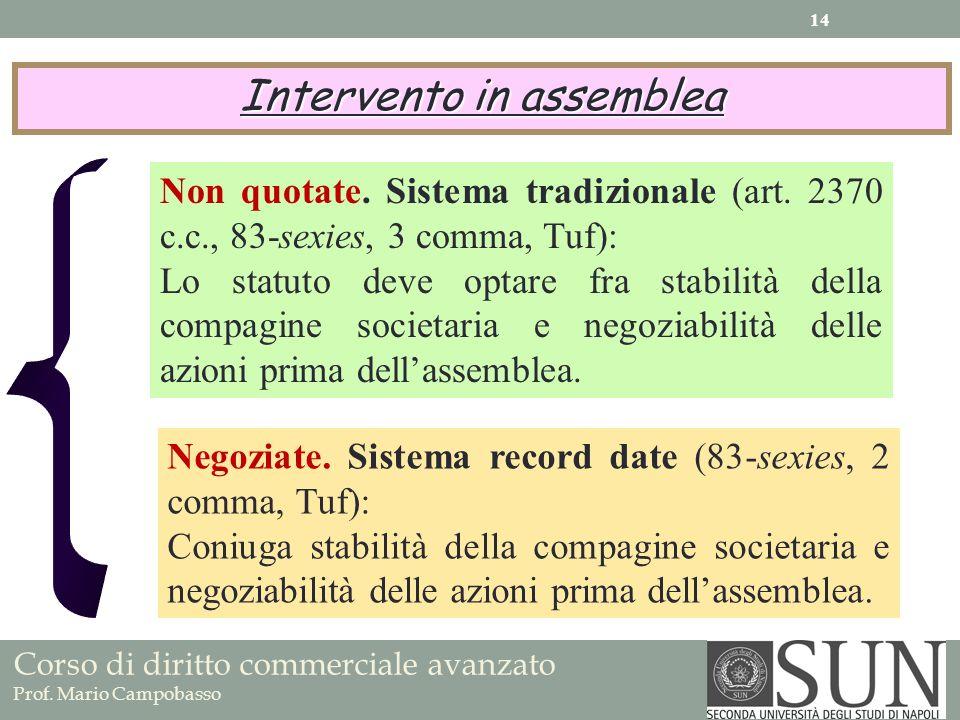 Corso di diritto commerciale avanzato Prof. Mario Campobasso Intervento in assemblea Non quotate. Sistema tradizionale (art. 2370 c.c., 83-sexies, 3 c