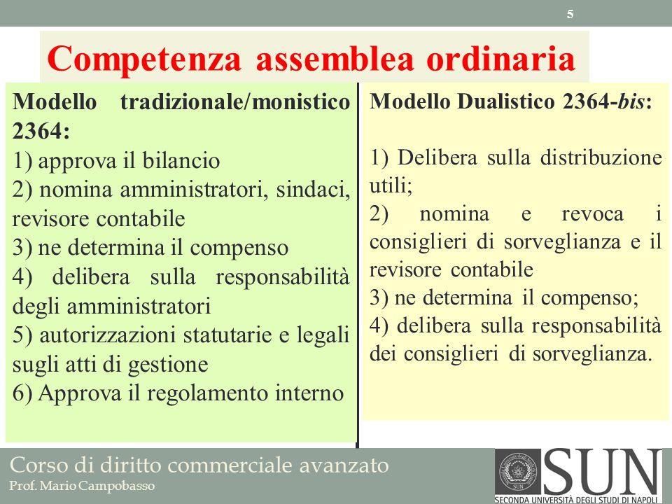 Corso di diritto commerciale avanzato Prof. Mario Campobasso Competenza assemblea ordinaria Modello tradizionale/monistico 2364: 1) approva il bilanci