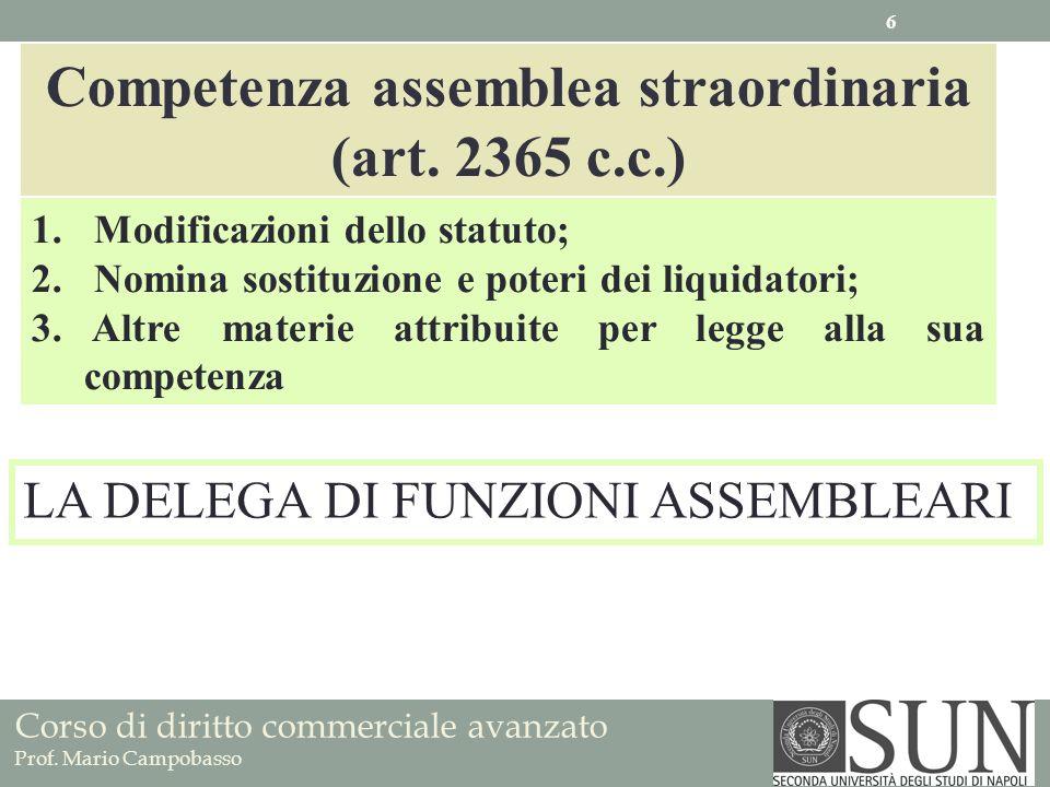 Corso di diritto commerciale avanzato Prof. Mario Campobasso Competenza assemblea straordinaria (art. 2365 c.c.) 1. Modificazioni dello statuto; 2. No