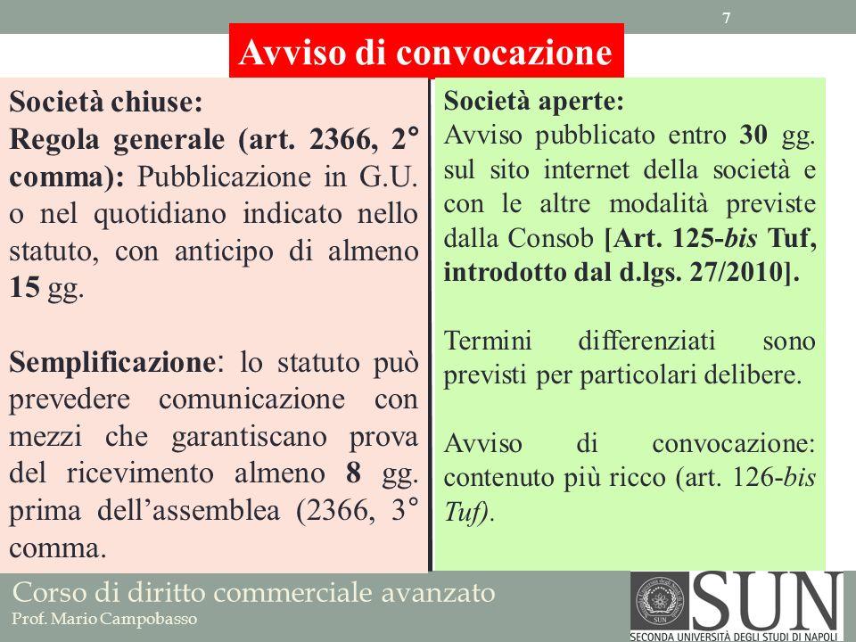 Corso di diritto commerciale avanzato Prof. Mario Campobasso Avviso di convocazione Società chiuse: Regola generale (art. 2366, 2° comma): Pubblicazio