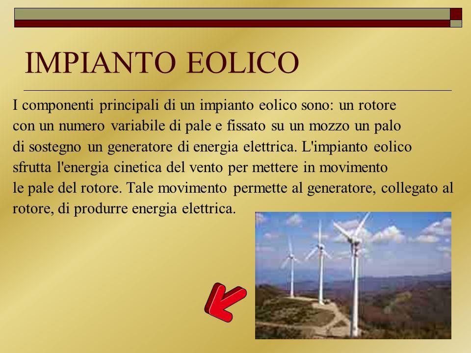 IMPIANTO EOLICO I componenti principali di un impianto eolico sono: un rotore con un numero variabile di pale e fissato su un mozzo un palo di sostegn