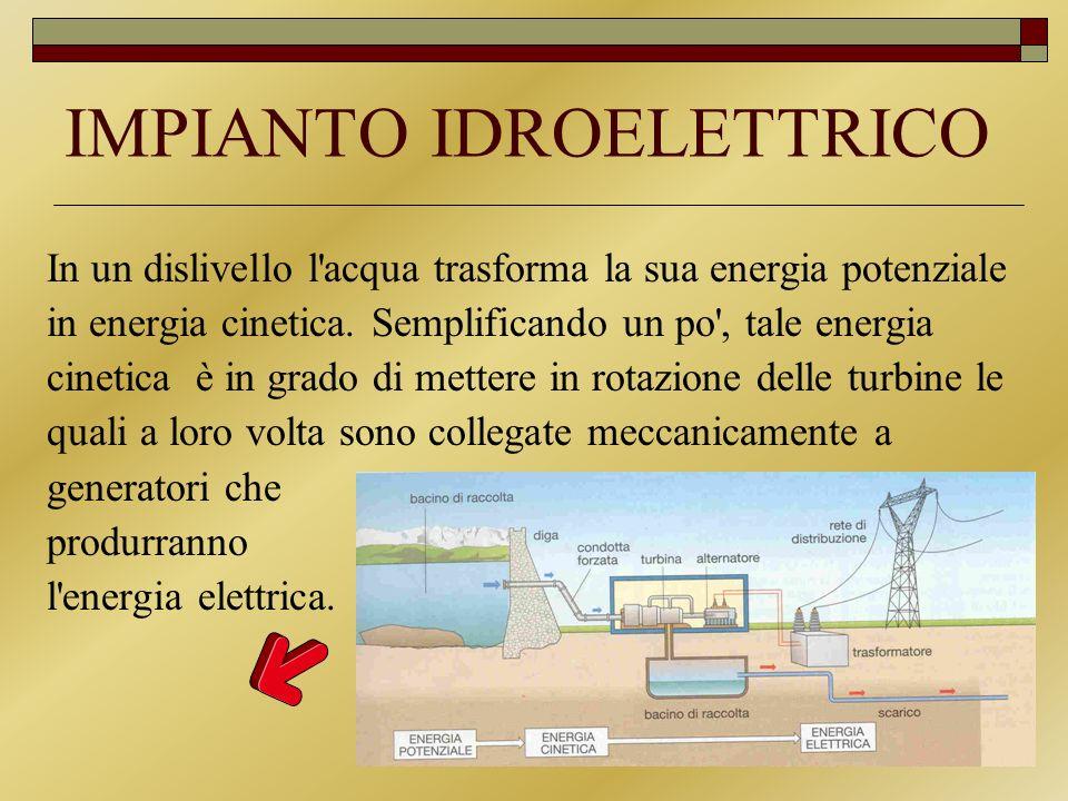 IMPIANTO IDROELETTRICO In un dislivello l'acqua trasforma la sua energia potenziale in energia cinetica. Semplificando un po', tale energia cinetica è