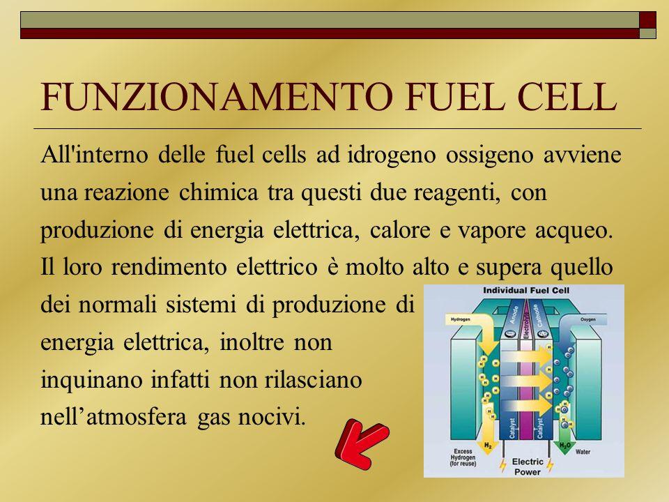 FUNZIONAMENTO FUEL CELL All'interno delle fuel cells ad idrogeno ossigeno avviene una reazione chimica tra questi due reagenti, con produzione di ener