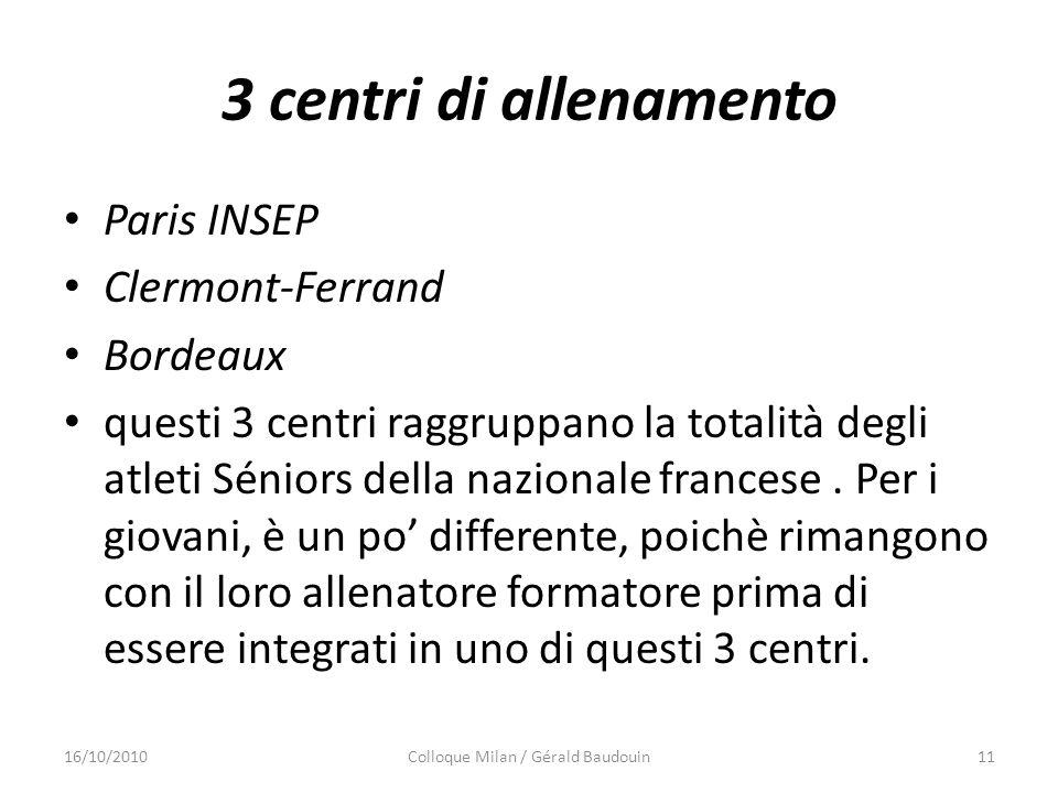 3 centri di allenamento Paris INSEP Clermont-Ferrand Bordeaux questi 3 centri raggruppano la totalità degli atleti Séniors della nazionale francese. P