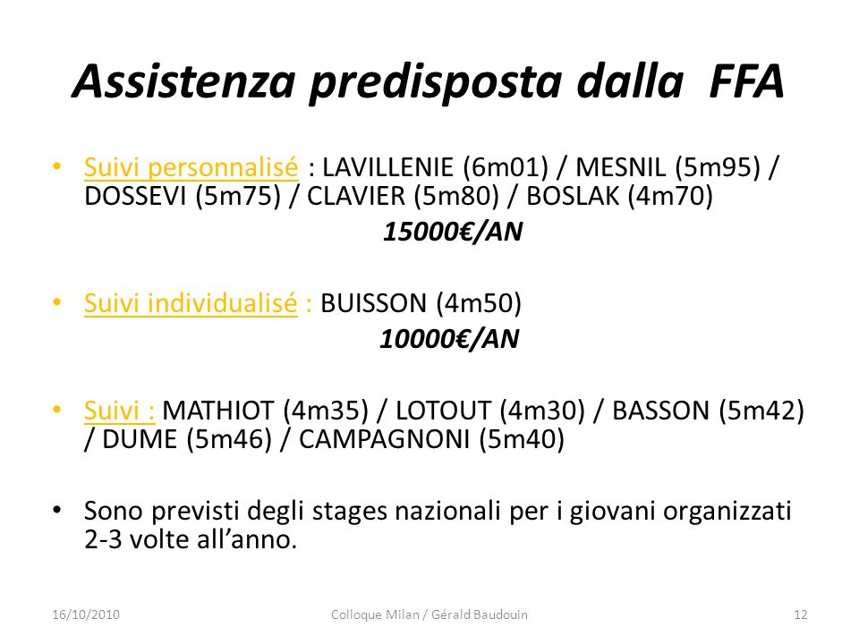 Assistenza predisposta dalla FFA Suivi personnalisé : LAVILLENIE (6m01) / MESNIL (5m95) / DOSSEVI (5m75) / CLAVIER (5m80) / BOSLAK (4m70) 15000/AN Sui
