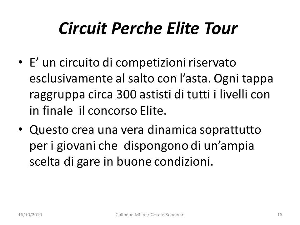Circuit Perche Elite Tour E un circuito di competizioni riservato esclusivamente al salto con lasta. Ogni tappa raggruppa circa 300 astisti di tutti i