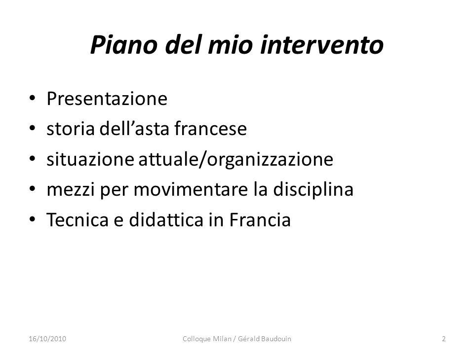 Piano del mio intervento Presentazione storia dellasta francese situazione attuale/organizzazione mezzi per movimentare la disciplina Tecnica e didatt