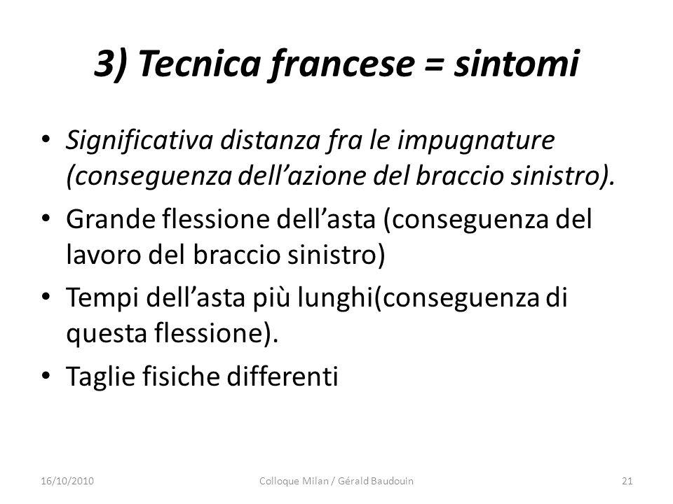 3) Tecnica francese = sintomi Significativa distanza fra le impugnature (conseguenza dellazione del braccio sinistro). Grande flessione dellasta (cons