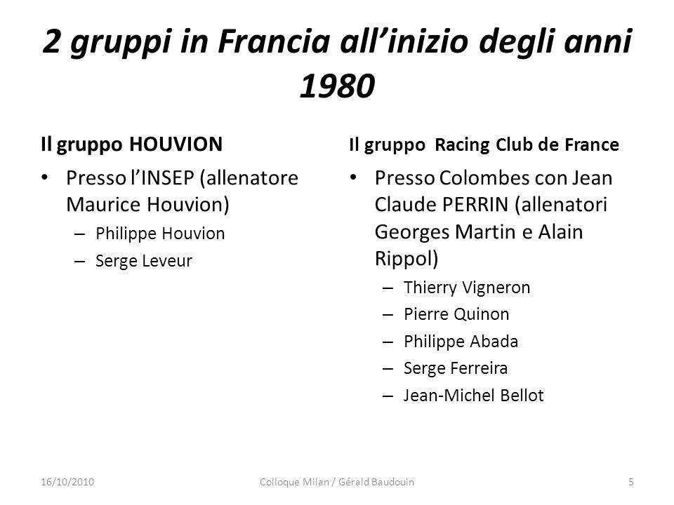2 gruppi in Francia allinizio degli anni 1980 Il gruppo HOUVION Presso lINSEP (allenatore Maurice Houvion) – Philippe Houvion – Serge Leveur Il gruppo