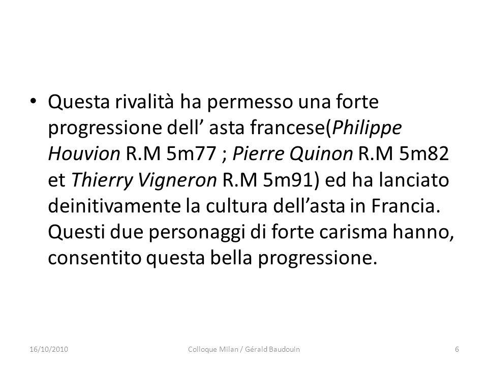 Questa rivalità ha permesso una forte progressione dell asta francese(Philippe Houvion R.M 5m77 ; Pierre Quinon R.M 5m82 et Thierry Vigneron R.M 5m91)