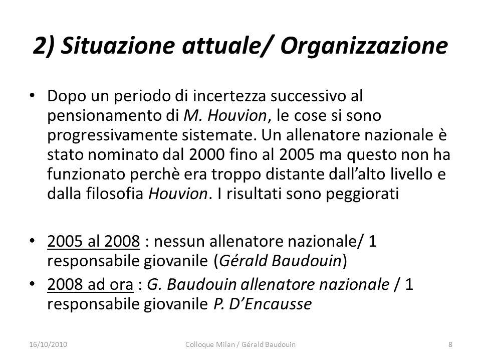 2) Situazione attuale/ Organizzazione Dopo un periodo di incertezza successivo al pensionamento di M. Houvion, le cose si sono progressivamente sistem