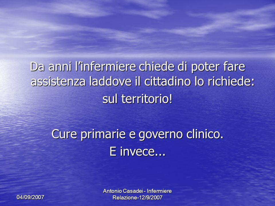 04/09/2007 Antonio Casadei - Infermiere Relazione-12/9/2007 Da anni linfermiere chiede di poter fare assistenza laddove il cittadino lo richiede: sul