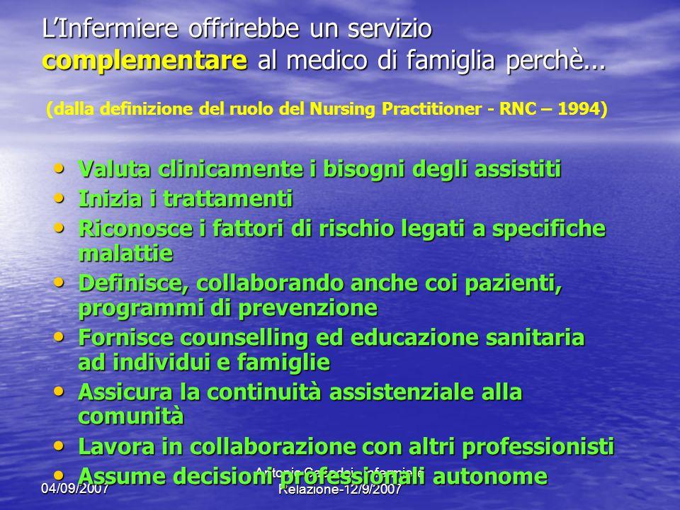 04/09/2007 Antonio Casadei - Infermiere Relazione-12/9/2007 Valuta clinicamente i bisogni degli assistiti Valuta clinicamente i bisogni degli assistit