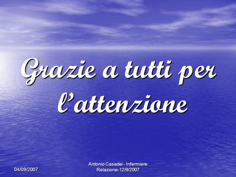 04/09/2007 Antonio Casadei - Infermiere Relazione-12/9/2007 Grazie a tutti per lattenzione