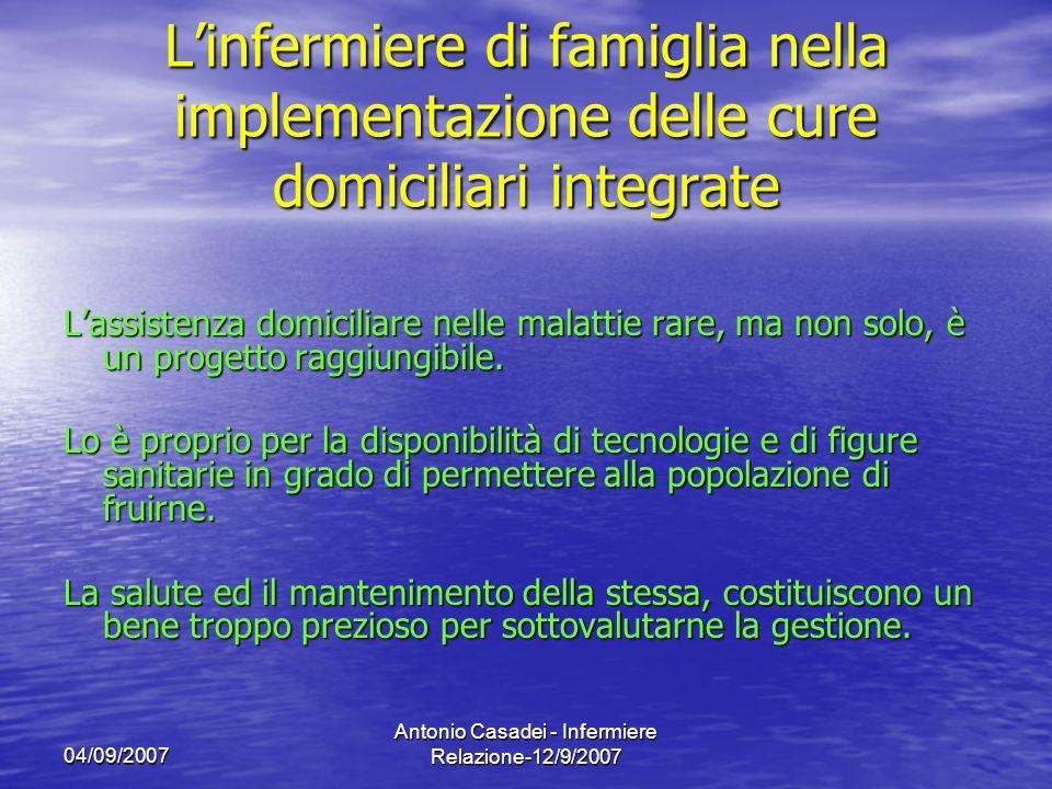 04/09/2007 Antonio Casadei - Infermiere Relazione-12/9/2007 Linfermiere di famiglia nella implementazione delle cure domiciliari integrate Lassistenza